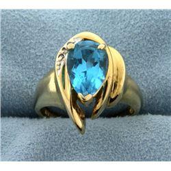 Swiss Blue Topaz and Diamond 14k Ring