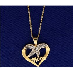 Diamond Heart Mom Pendant With Chain