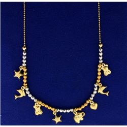 14k Yellow and White Gold Animal Charm Necklace