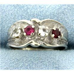 Pink Topaz, Garnet, & White Sapphire Ring