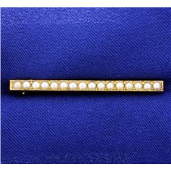 Antique Seed Pearl Bar Pin in 14k Gold