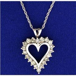 1ct TW Diamond Heart Pendant with Chain