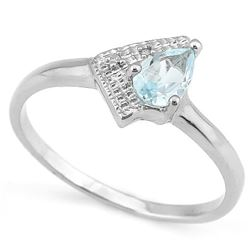 Modern Aquamarine Ring with Diamond in Sterling Silver