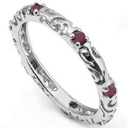 Genuine Rubies set in Platinum over Sterling Silver Ring