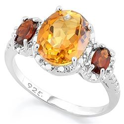 Deep Citrine and Garnet Ring in Sterling Silver