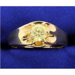 Men's Vintage 1ct Golden Beryl/Helidor Ring in 14k Rose Gold