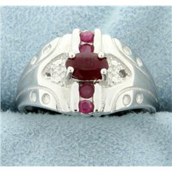 African Ruby and Diamond Fashion Ring
