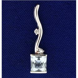 Aquamarine and Diamond Pendant/Slide in 14k White Gold