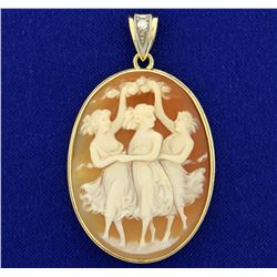 Vintage Cameo and Diamond Pendant in 14k Gold