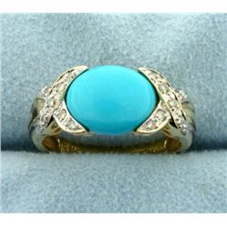 Persian Turquoise and Diamond Ring in 14k Gold