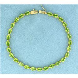 18 Carat Peridot Bracelet in 14k Gold