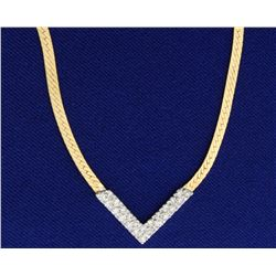 1/2ct TW Diamond Herringbone Necklace in 14k White and Yellow Gold