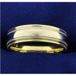 Men's Yellow and White 14k Gold Beaded Edge Wedding Band Ring