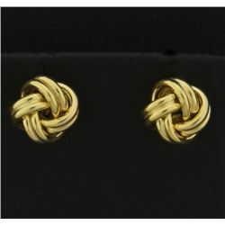 Italian Made Knot Design 14k Gold Earrings