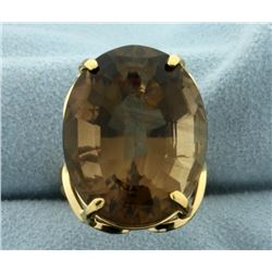 Huge 40ct Smokey Topaz Statement Ring in 18k Gold