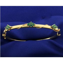 Emerald Bangle Bracelet in 14k Gold