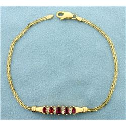 Ruby and Diamond Bracelet in 14k Gold