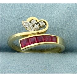 Natural Ruby and Diamond Wrap Style Heart Ring in 14k Gold
