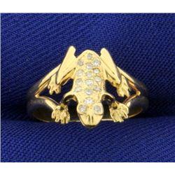 Custom Made Diamond Frog Ring in 14k Gold