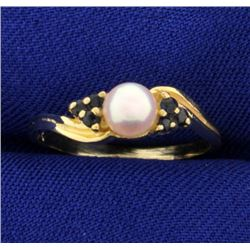 Pearl and Sapphire Ring in 14K Yellow Gold