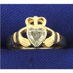 1/2 ct Diamond Heart Claddagh Ring in 14K Yellow Gold