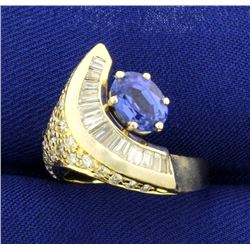 Unique Crescent Design 2 1/2ct TW Tanzanite and Diamond Ring in 14K Yellow and White Gold