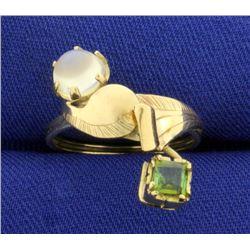 Custom Made Moonstone and Peridot Ring in 10K Yellow Gold