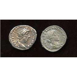 Lucius Verus (161-169 AD) & wife Lucilla. AR Denarius (2 Pcs)