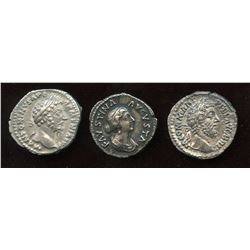 Nerva–Antonine Dynasty Lot. AR Denarius (3 Pcs)