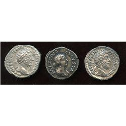 Nerva–Antonine Dynasty Lot. AR Denarius (3 Pcs)