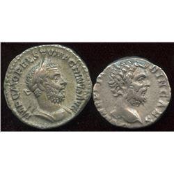 Clodius Albinus (193-197 AD) & Macrinus (217-218 AD). AR Denarius (2 Pcs)