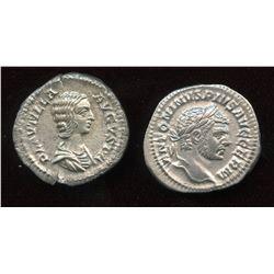 Caracalla (198-217 AD) & wife Plautilla. AR Denarius (2 Pcs)
