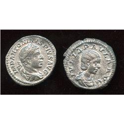 Elagabalus (218-222 AD) & wife Julia Paula. AR Denarius (2 Pcs)