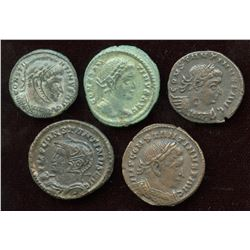 Constantine I (307-337 AD) London Mint Lot. AE Follis (5 Pcs)