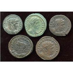 Constantine I (307-337 AD) London Mint Lot. AE Follis (5 Pcs)