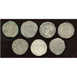 Lot of 7 French billon coins
