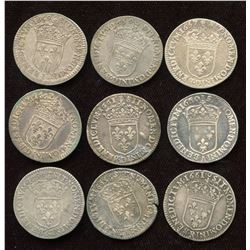 Lot of 9 French 1/12 Ecu,