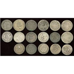 Lot of 17 French 1/10 Ecu.