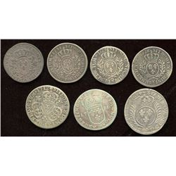 Lot of 7 French coins.
