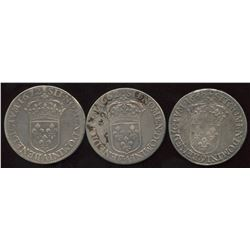 Lot of 3 French ½ Ecu,