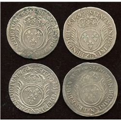 Lot of 4 French ½ Ecu,