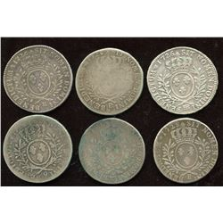Lot of 6 French ½ Ecu,
