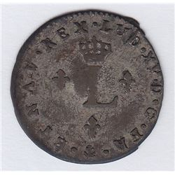 BR 508. Billon Double Sol of 24 Deniers. 1739 O. (Riom).