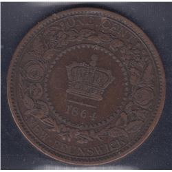 1864 New Brunswick One Cent ERROR E/F Legend