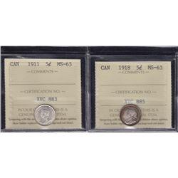 1911 & 1918 Five Cents