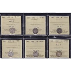 Canadian Lot of ICCS Graded Silver Five Cents