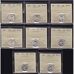 Canadian Lot of ICCS Graded Ten Cents
