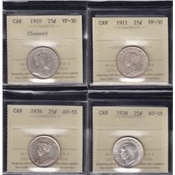 Canadian Lot of ICCS Graded Twenty-Five Cents