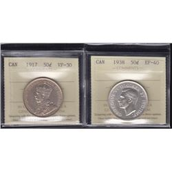 1917 & 1938 Fifty Cents