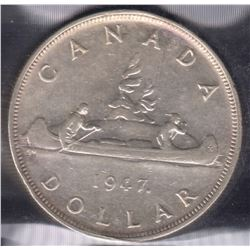 1947 Maple Leaf Silver Dollar
